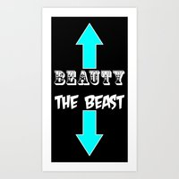 beauty and the beast Art Prints featuring Beauty and Beast by Spooky Dooky