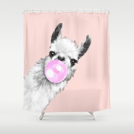 Bubble Gum Black and White Sneaky Llama in Pink Shower Curtain