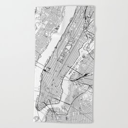 New York City White Map Beach Towel