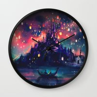 red hood Wall Clocks featuring The Lights by Alice X. Zhang
