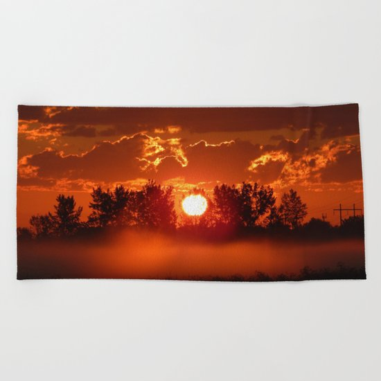 Flaming Horses over the Foggy Sunrise Beach Towel