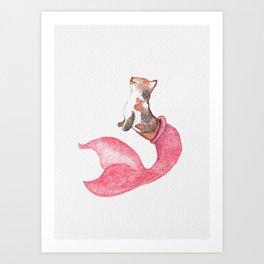 Peach The Purrmaid - Textured/Colored BG Art Print
