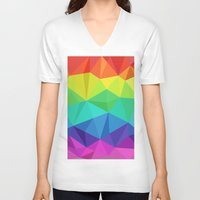low poly V-neck T-shirts featuring rainbow low poly by tony tudor