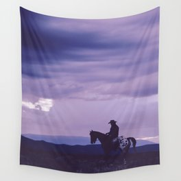 Southwestern Cowboy on Horse Wall Tapestry