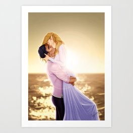 Feyre and Rhysand - A Romantic Sunset Art Print