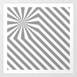 Stripes explosion - Grey Art Print