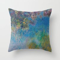 monet Throw Pillows featuring Wisteria by Claude Monet by Palazzo Art Gallery