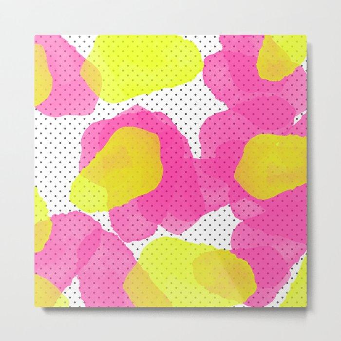 Sarah's Flowers - Abstract Watercolor on Polka Dots Metal Print