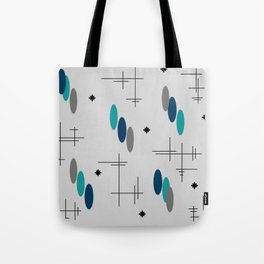 Ovals and Starbursts Teal Tote Bag