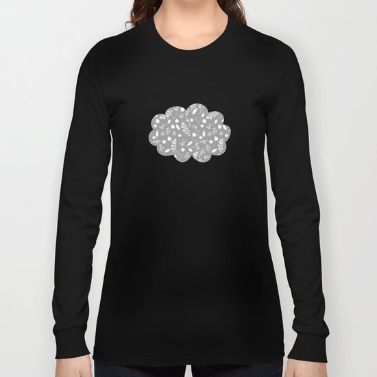 Floral Grey White Long Sleeve T-shirt