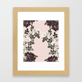 Bees + Blackberries on Pale Pink Framed Art Print