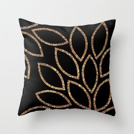 gold glitter leaves on black Throw Pillow