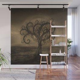 Golden Spiral Tree Sepia Wall Mural