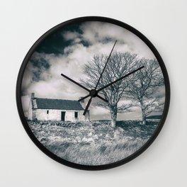 Highland Cottage, monochrome. Wall Clock