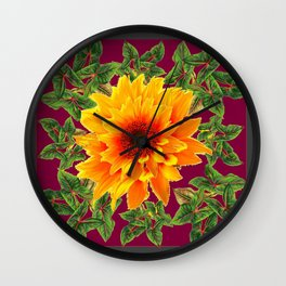 DECORATIVE  BURGUNDY YELLOW SUNFLOWERS GARDEN  ART Wall Clock