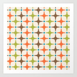 Mid Century Modern Star Pattern 814 Brown Orange Turquoise Chartreuse Art Print