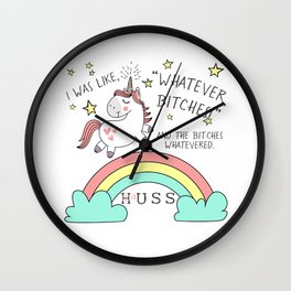 Whatever Bitches JA Huss Wall Clock