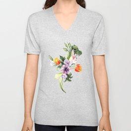 Watercolor spring floral pattern Unisex V-Neck