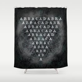 Abracadabra Reversed Pyramid in Charcoal Black Shower Curtain
