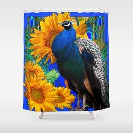 BLUE PEACOCK & GOLDEN SUNFLOWERS BLUE ART Shower Curtain