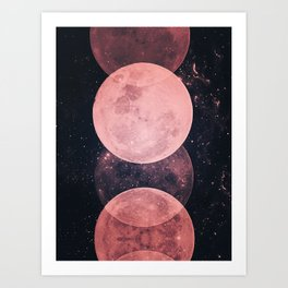 Pink Moon Phases Art Print