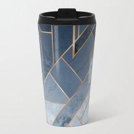 Blue and gold geometric pattern Travel Mug