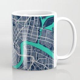 New Orleans Blue Dark Color City Map Coffee Mug