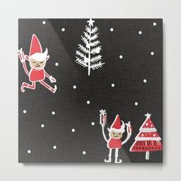 Santa Elf Charcoal Red   #Christmas #holiday Metal Print