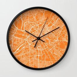 Manchester map orange Wall Clock