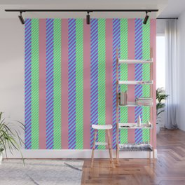 Modern abstract pink teal yellow stripes pattern Wall Mural