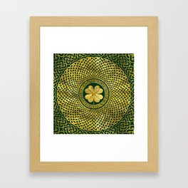 Irish Four-leaf clover with Celtic Knot Framed Art Print