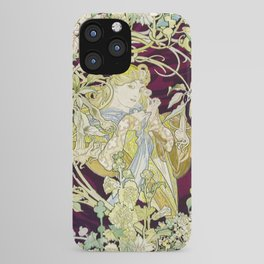 Panel Entitled Femme a marguerite or Woman with Daisy (ca 1898 or 1900) by Alphonse Maria Mucha iPhone Case