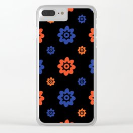 Florida Gator Colors Flower Print on Black Clear iPhone Case