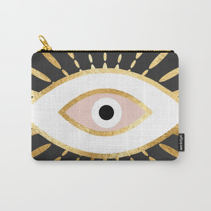 gold foil evil eye in blush Carry-All Pouch
