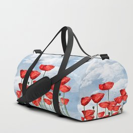 Mouse and poppies on a cloudy day Duffle Bag