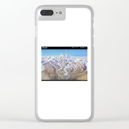 Sky Panorama Map of Denali National Park Labeled Clear iPhone Case
