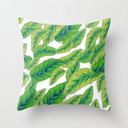 Banana Leaves - White Throw Pillow