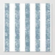 Maritime Navy Beach Pattern- Blue and White Stripes- Vertical - Canvas Print