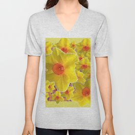 YELLOW-GOLD DAFFODILS FLOWER COLLAGE Unisex V-Neck