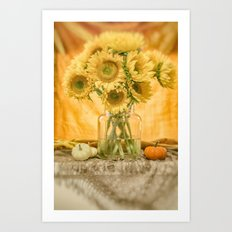 Simple Sunflowers Still Life -- Fall Colors Art Print