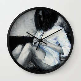 The woman in the shirt Wall Clock