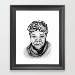 Maya Angelou - BW Original Sketch Framed Art Print