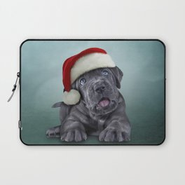 Puppy Cane Corso - Italian Mastiff in red hat of Santa Claus Laptop Sleeve