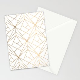 Geometric Gold Pattern With White Shimmer Stationery Cards