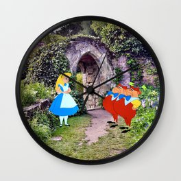 Alice and the Tweedles in the Garden Wall Clock