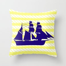 Blue Ship with Yellow Ropes Throw Pillow