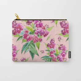 Pattern with pink flowers and leaves (Spiraea) Carry-All Pouch
