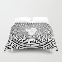 greek Duvet Covers featuring GREEK GODDESS by AZZURRO ARTS