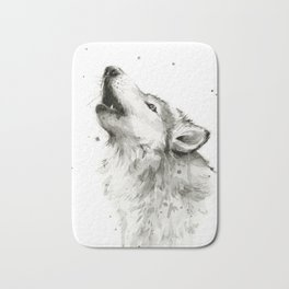 Wolf Howling Watercolor Animals Wildlife Painting Animal Portrait Bath Mat