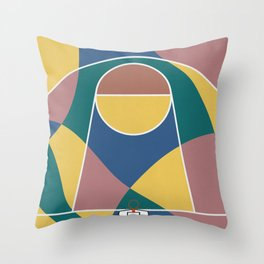 Abstract Basketball Court From Above Throw Pillow
